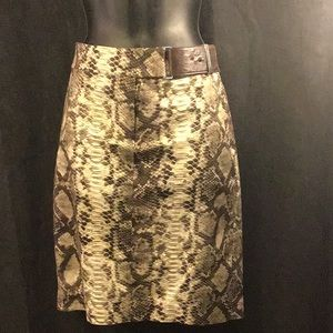 Michael Kors Snake Print Skirt W/Side Belt Size 2
